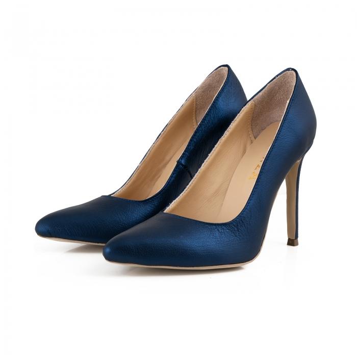 Pantofi Stiletto din piele laminata albastru metalic 2