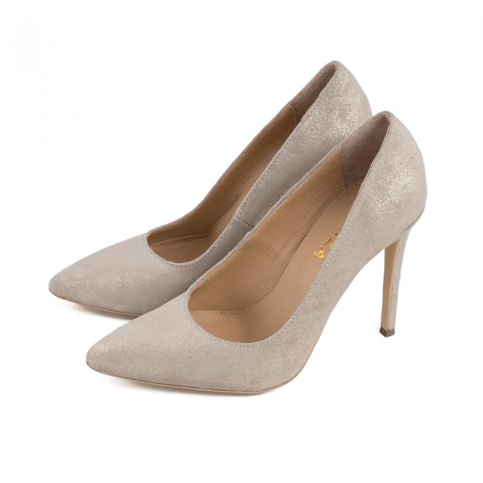Pantofi Stiletto din piele naturala crem glitter 1