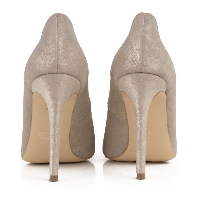 Pantofi Stiletto din piele naturala crem glitter 3