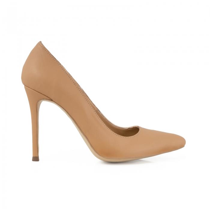 Pantofi Stiletto din piele naturala nude 0