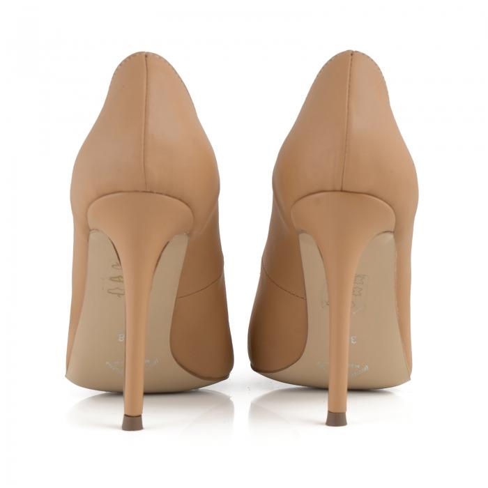 Pantofi Stiletto din piele naturala nude 3