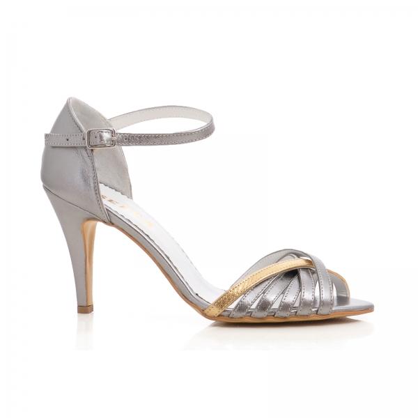 Sandale cu barete din piele argintiu platina 0