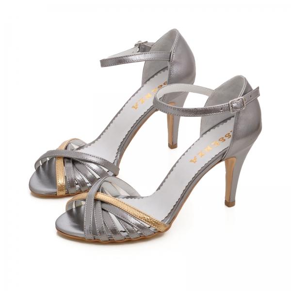 Sandale cu barete din piele argintiu platina 2