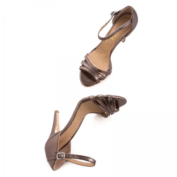 Sandale cu barete, din piele laminata bronz 4