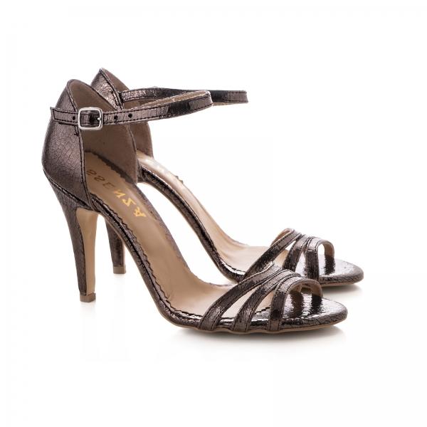 Sandale cu barete, din piele laminata bronz 1