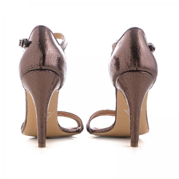 Sandale cu barete, din piele laminata bronz 3