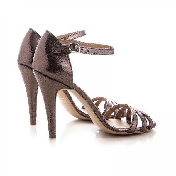 Sandale cu barete, din piele laminata bronz 2