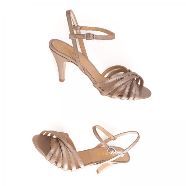 Sandale cu barete, din piele naturala bronz sidef 2