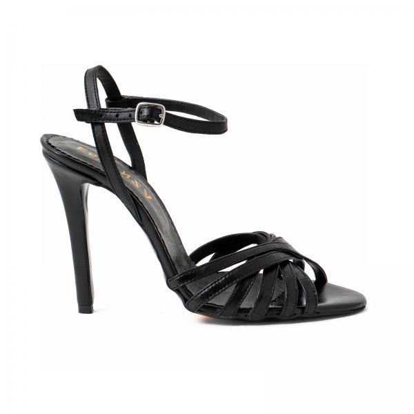 Sandale cu barete, din piele naturala neagra 0