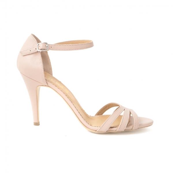 Sandale cu barete, din piele naturala nude roze 0