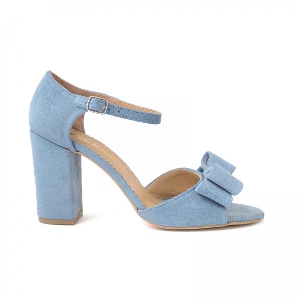 Sandale cu funde duble, din piele intoarsa albastru deschis 0