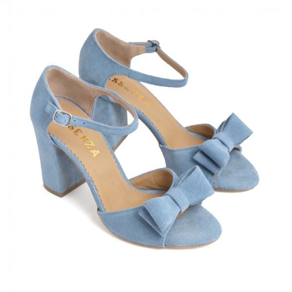 Sandale cu funde duble, din piele intoarsa albastru deschis 1