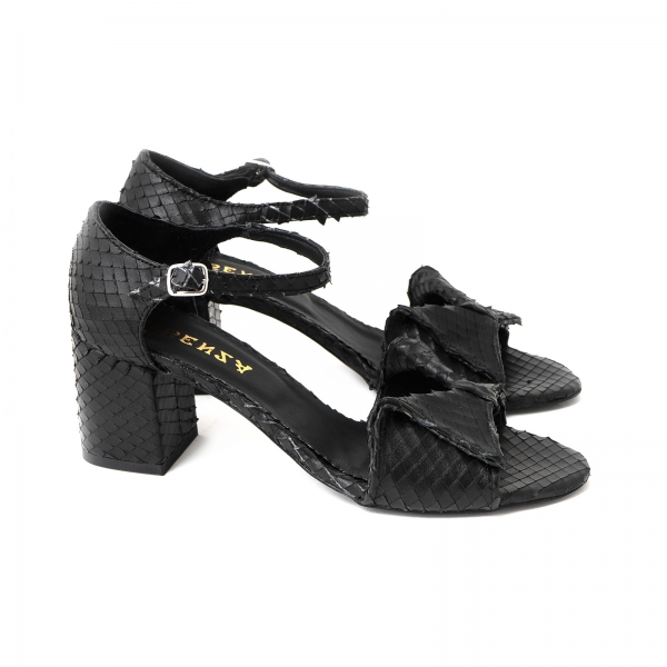 Sandale cu fundita din piele naturala neagra texturata 1