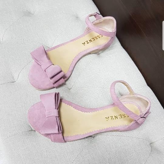 Sandale cu talpa joasa, cu fundite din piele intoarsa roz 0