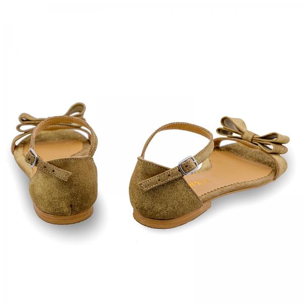 Sandale cu talpa joasa, din piele aurie glitter, cu fundite 2