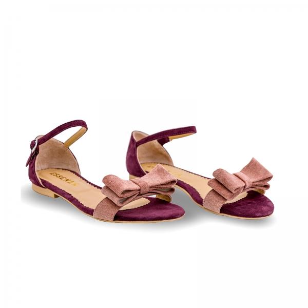 Sandale cu talpa joasa, din piele intoarsa mov, cu fundite roz somon 1