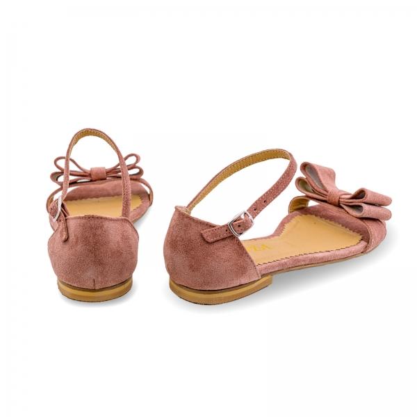 Sandale cu talpa joasa, din piele intoarsa roz somon, cu fundite 1