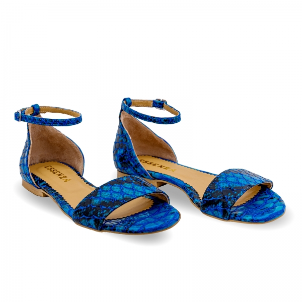 Sandale cu talpa joasa, din piele lacuita in nuante de albastru cu textura de piele de sarpe 1