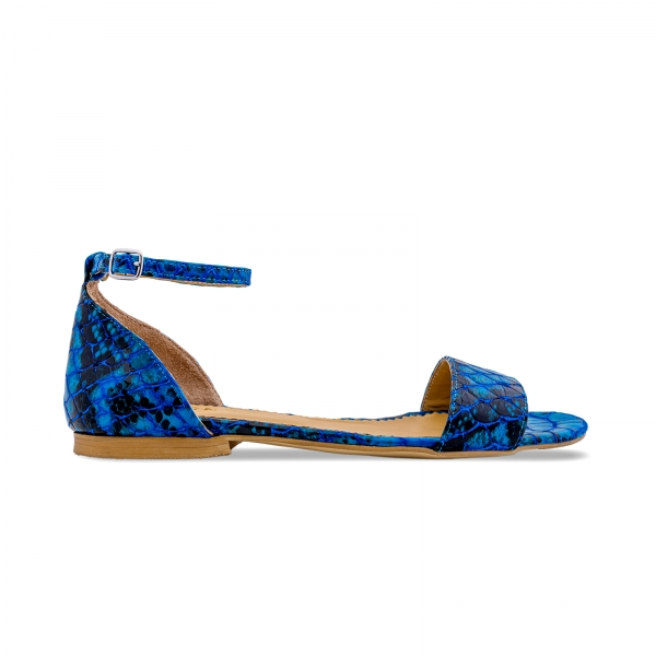 Sandale cu talpa joasa, din piele lacuita in nuante de albastru cu textura de piele de sarpe 0