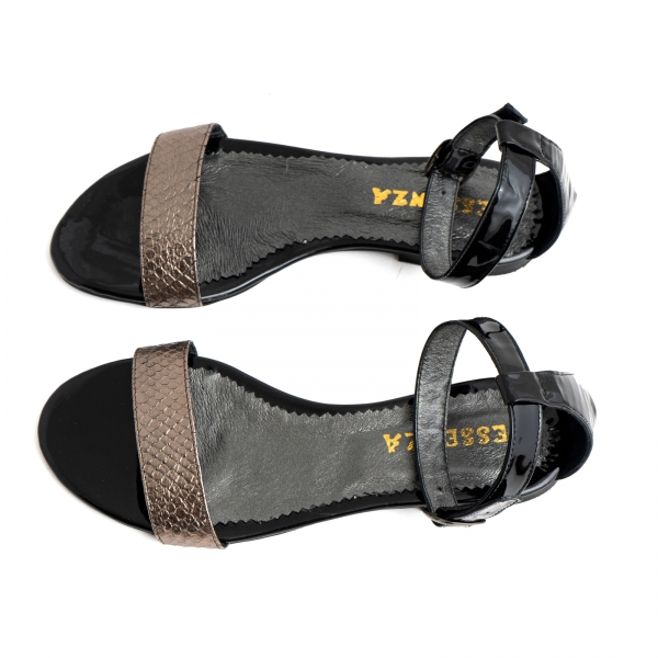 Sandale cu talpa joasa, din piele lacuita neagra si piele laminata bronz texturat 2