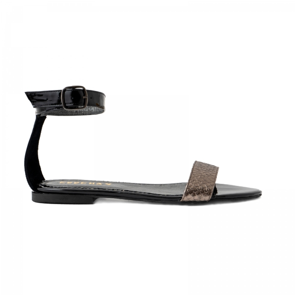 Sandale cu talpa joasa, din piele lacuita neagra si piele laminata bronz texturat 0