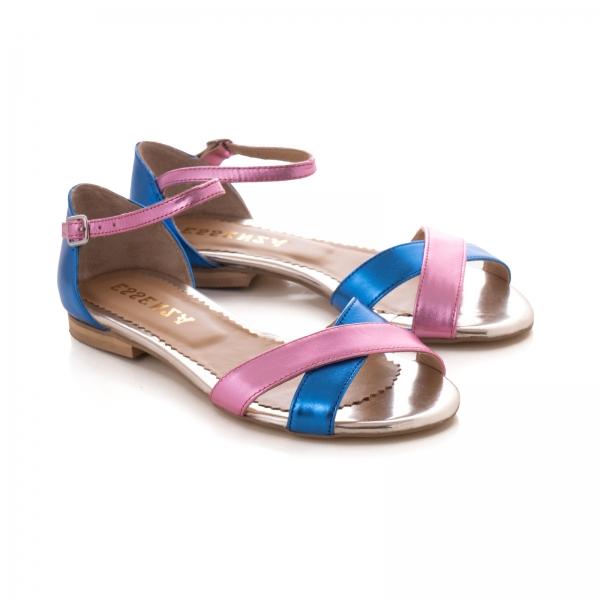 Sandale cu talpa joasa , din piele laminata roz ciclam si albastru electric 1