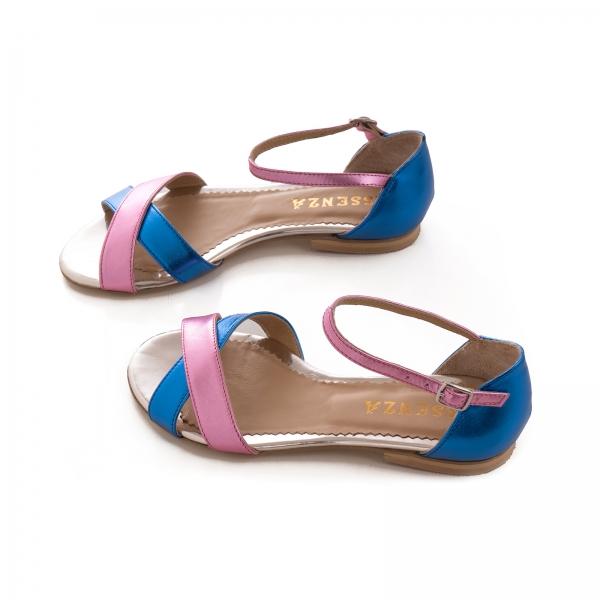 Sandale cu talpa joasa , din piele laminata roz ciclam si albastru electric 3