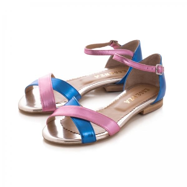 Sandale cu talpa joasa , din piele laminata roz ciclam si albastru electric 2