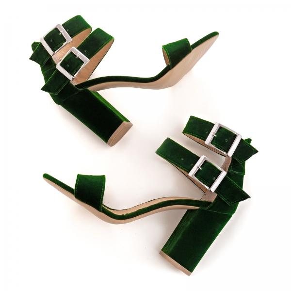 Sandale cu toc gros, din catifea verde 3