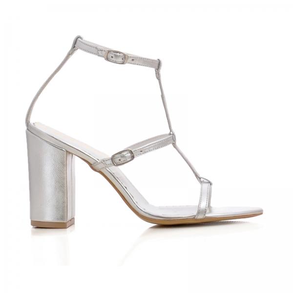 Sandale cu toc gros, din piele argintie 0
