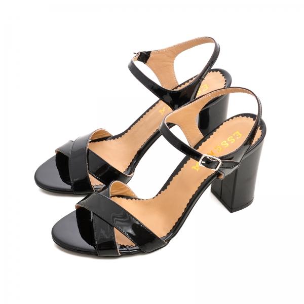 Sandale cu toc gros, din piele lacuita neagra 2