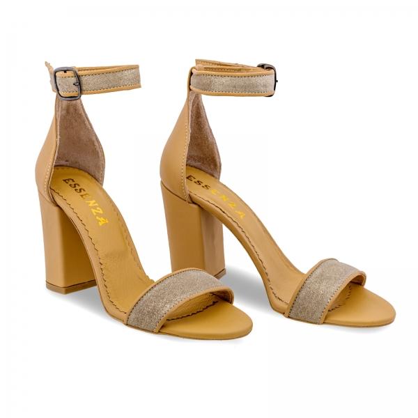 Sandale cu toc gros, din piele naturala nude si piele glitter 1