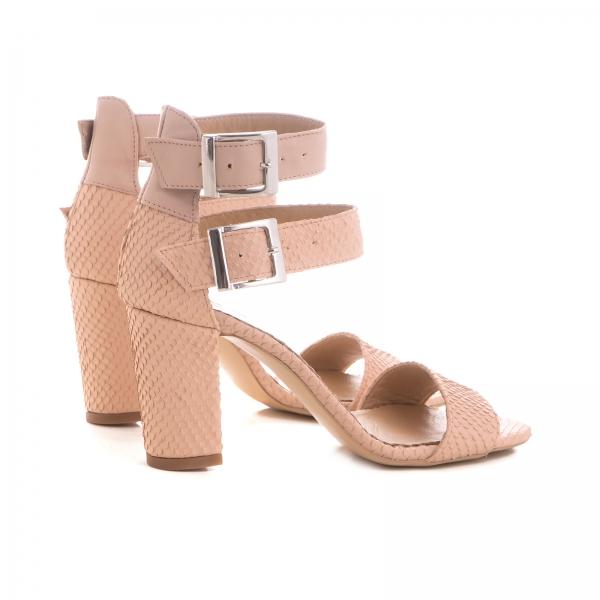 Sandale cu toc gros, din piele roz cu textura de piele de sarpe, si piele nude roze 2