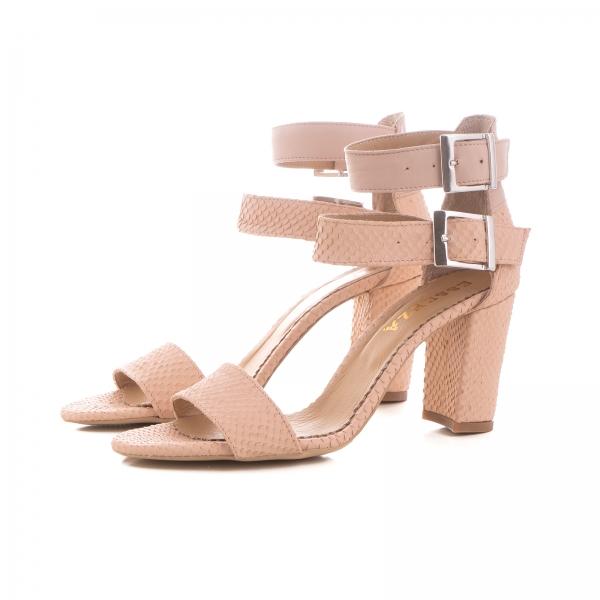 Sandale cu toc gros, din piele roz cu textura de piele de sarpe, si piele nude roze 1