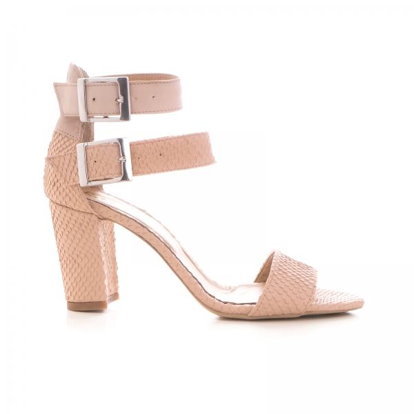 Sandale cu toc gros, din piele roz cu textura de piele de sarpe, si piele nude roze 0