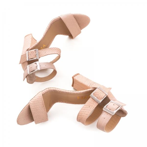 Sandale cu toc gros, din piele roz cu textura de piele de sarpe, si piele nude roze 3