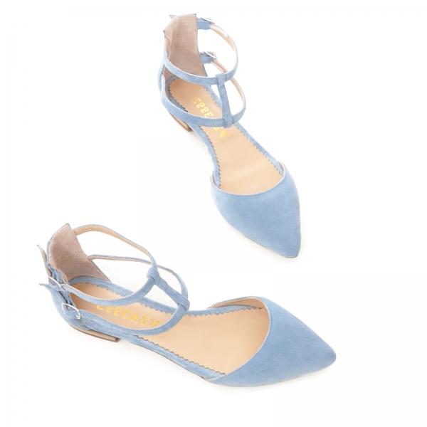 Sandale cu varf ascutit , albastru -seren 3