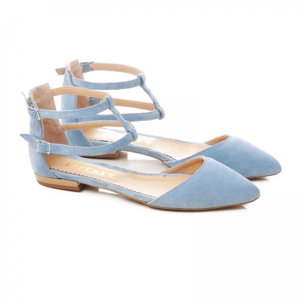 Sandale cu varf ascutit , albastru -seren 1