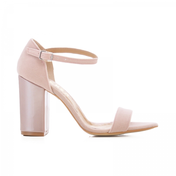 Sandale din catifea si piele lacuita 0