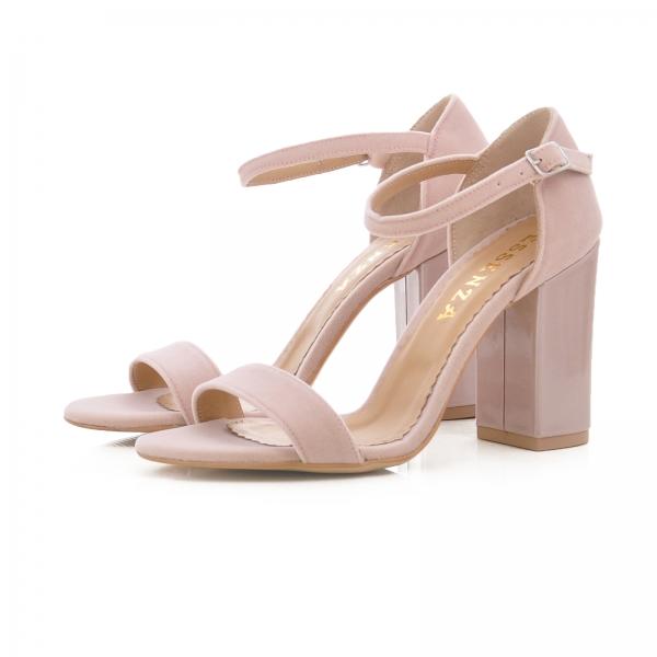 Sandale din catifea si piele lacuita 2