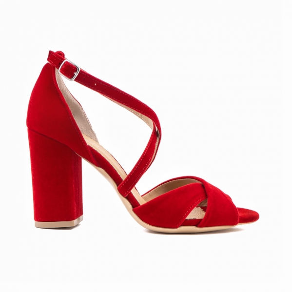 Sandale din catifea, rosu aprins 0