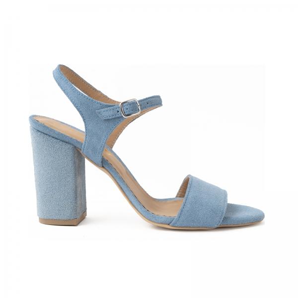 Sandale din piele intoarsa albastra, cu toc patrat imbracat in piele. 0
