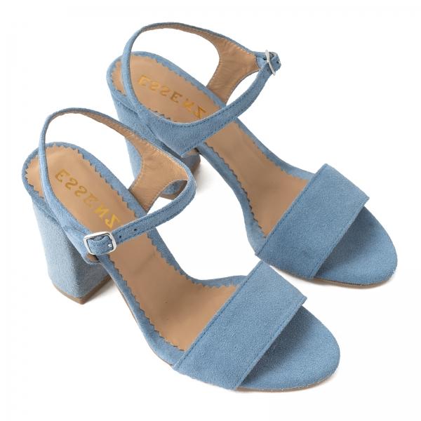 Sandale din piele intoarsa albastra, cu toc patrat imbracat in piele. 2
