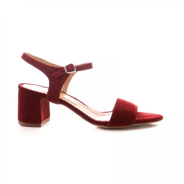 Sandale din piele intoarsa burgundy 0