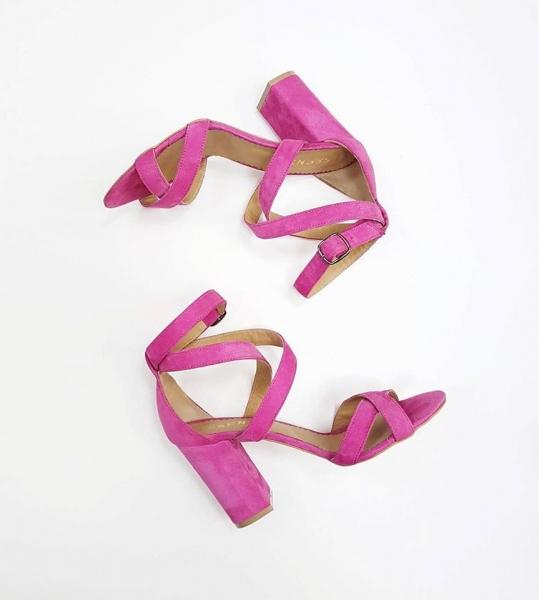 Sandale din piele intoarsa camoscio roz intens. 0