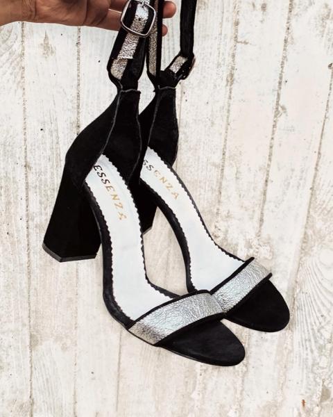 Sandale din piele intoarsa neagra si piele laminata argintie 1