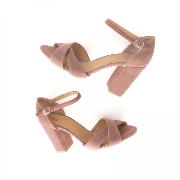 Sandale din piele intoarsa roz somon 3
