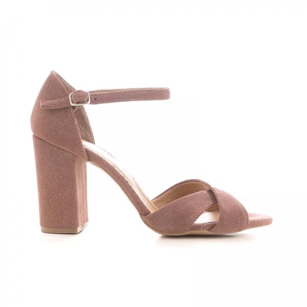 Sandale din piele intoarsa roz somon 0