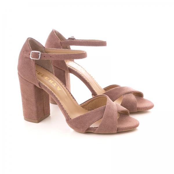 Sandale din piele intoarsa roz somon 1