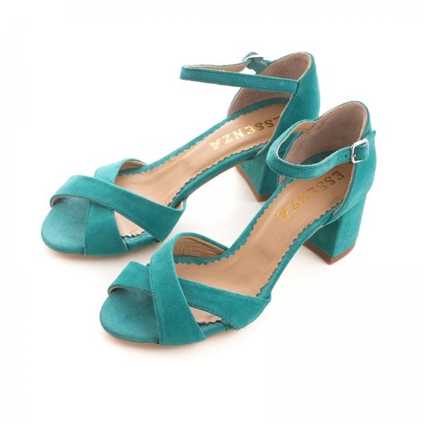 Sandale din piele intoarsa turquoise, cu toc gros 2